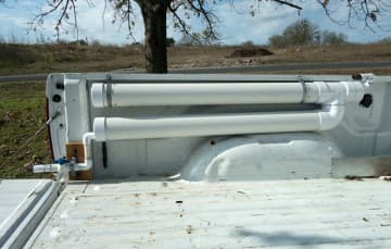 auxiliary grey water tank with PVC pipe