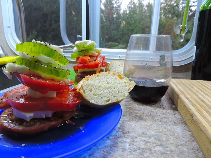 Heirloom tomato mozzarella stack