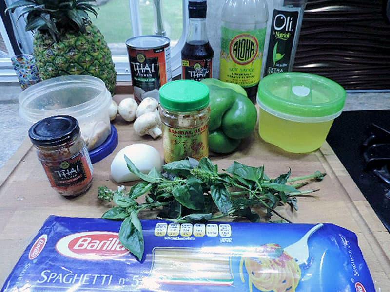 Thai Red Curry pasta in truck camper