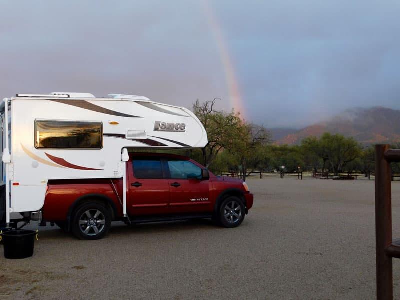 Nissan Titan camping rainbow