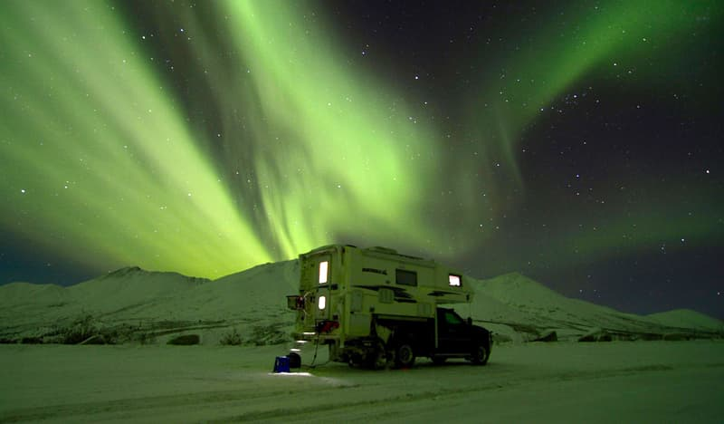 Northern light show at Tombstone Territorial Park Yukon Territories Canada