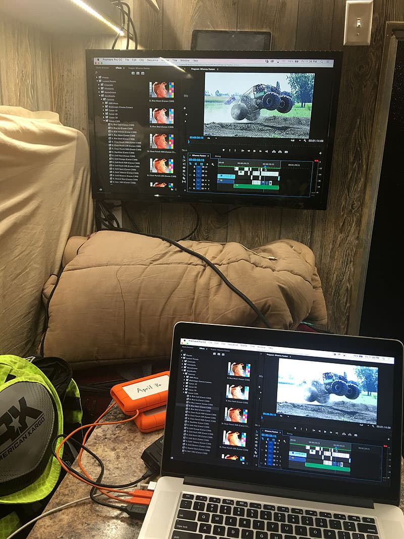 Editing video inside camper
