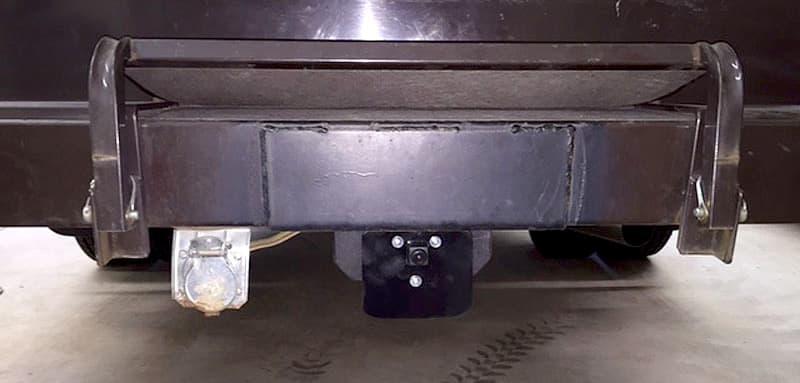 Rear camera installation on camper