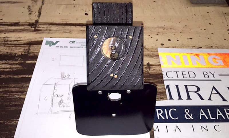 Rear camera installation wood block