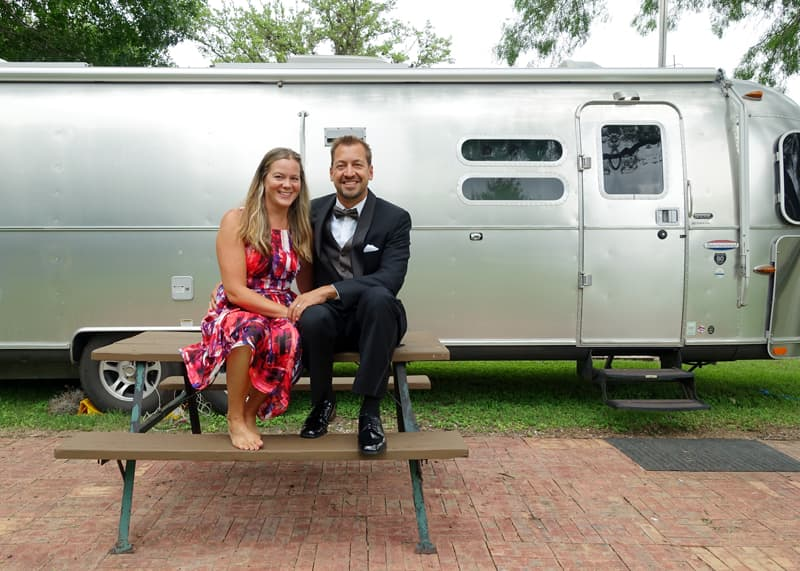 Lauri and Jase with Airstream in San Antonio