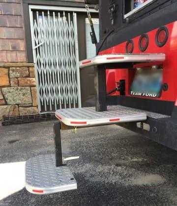 Snowmobile truck camper steps