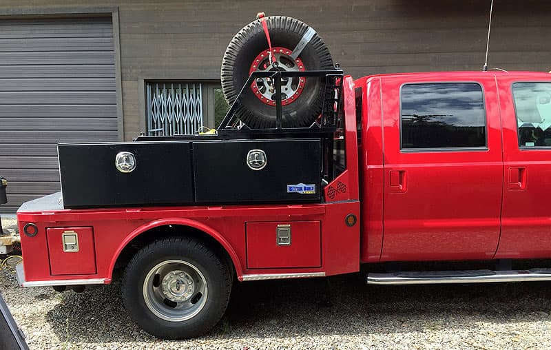 tires and storage boxes in F350