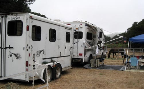Lance Camper and Horse Trailer set-up for camp
