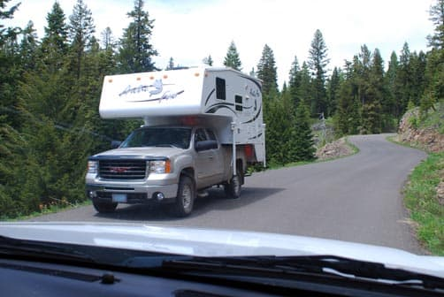 Waving at an Arctic Fox truck camper
