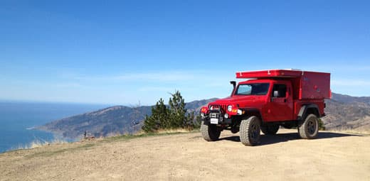 Jeep camper in Big Sur, California hills