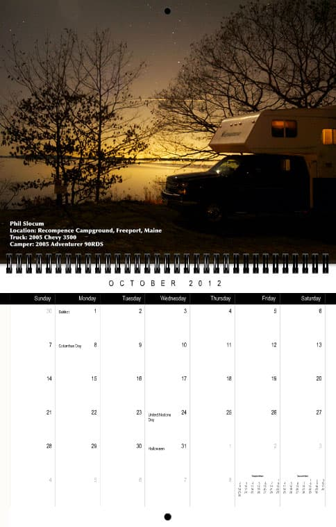 Truck Camper Magazine Calendar October