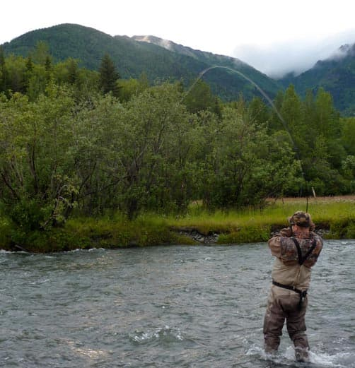 Fly fishing in Hope, Alaska