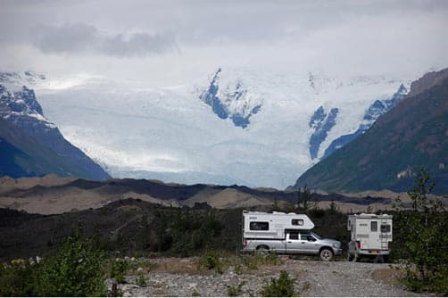 McCarthy Road camping, view of Kennicott Glacier