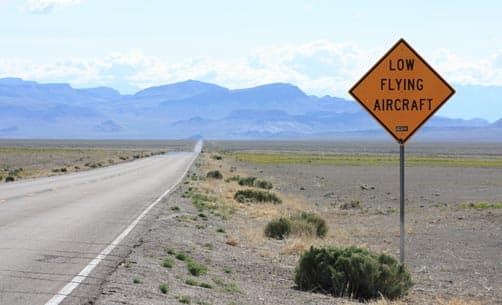 Nevada Highway Sign low aircraft