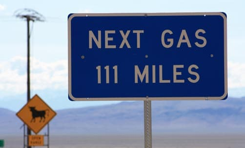 Nevada Highway Sign for gas