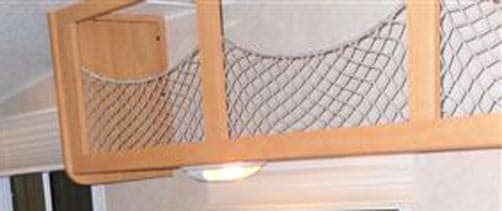 Woven nylon netting Over Cabinets