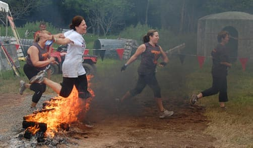 Warrior Dash - Jumping Over Fire