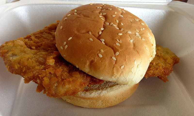Tenderloin sandwich on the road
