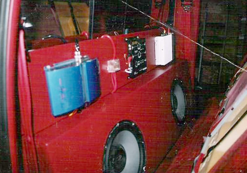 car audio stereo system in truck camper