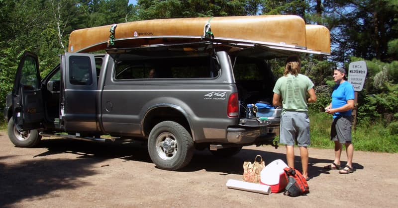 Using a truck tropper to haul canoes